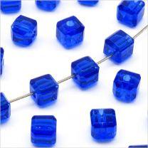 Perles Cubes Facettés 4mm en Cristal Bleu
