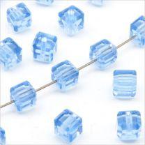 Perles Cubes Facettés 4mm en Cristal Bleu Clair