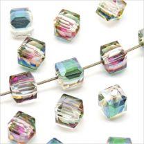 Perles Cubes Facettés 4mm en Cristal Cristal AB