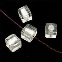Perles en Verre Lampwork Feuille d'Argent Cube 8mm Blanc