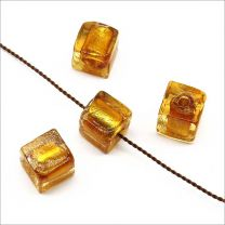 Perles en Verre Lampwork Feuille d'Argent Cube 8mm Améthyste