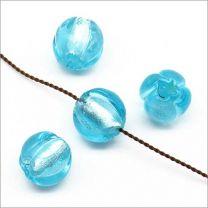 Perles Rondes en Verre Lampwork Feuille d'Argent 10mm Bleu clair