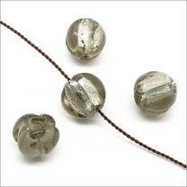 Lot de 4 Perles en Verre Lampwork Feuille d'Argent Carrées 20mm Vert