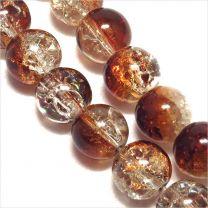 Perles Craquelées en Verre 8mm Bicolore Marron