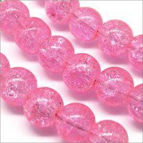 Perles Craquelées en Verre 8mm Rose