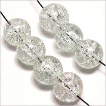 Perles Craquelées en Verre 8mm Cristal