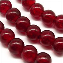Perles Craquelées en Verre 8mm Rouge Foncé