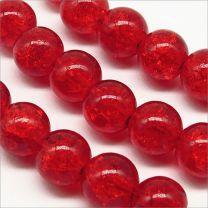 Perles Craquelées en Verre 8mm Rouge