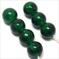 Perles Craquelées en Verre 8mm Vert foncé