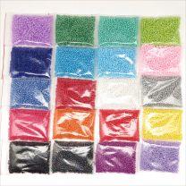 Lot 32000 Perles de Rocaille 2mm 20 Couleurs en Verre Opaque