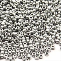 Perles de Rocailles en Verre Opaque 2mm Argenté