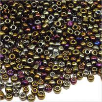 Perles de Rocailles en verre Opaque 2mm Vert Bleu Iris