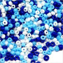 Perles de Rocailles en Verre Opaque 2mm Mélange Bleu