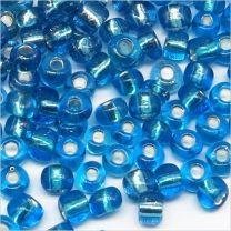 Perles de Rocailles en Verre Trous Argenté 4mm Bleu Clair