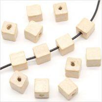 Perles Cubes en Bois 8mm Beige