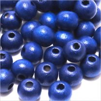 Perles en Bois 8mm Bleu