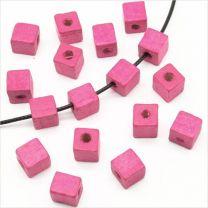 Perles Cubes en Bois 8mm Fuchsia