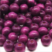 Perles en Bois 8mm Violet Prune