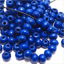Perles Ronde en Bois 6mm Bleu