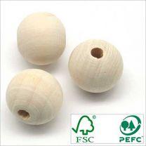 Perles Boules en Bois BRUT d'Erable FSC 20mm - Lot de 20 pcs