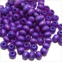 Perles Ronde en Bois 6mm Bleu Lavande