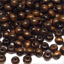 Perles en Bois d'érable 6mm Marron Foncé