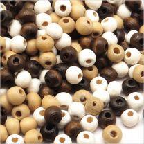 Lot de Perles en Bois 6mm Mélange assorti Marron - Blanc