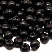 Perles Ronde en Bois d'érable 6mm Noir