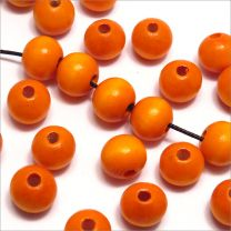 Perles en Bois 10mm Orange