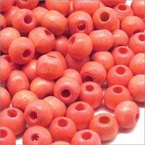 Perles Ronde en Bois d'érable 6mm Rouge