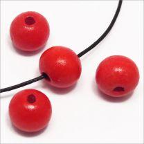 Perles en Bois 10mm Rouge