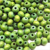 Perles Ronde en Bois 6mm Vert-Jaune