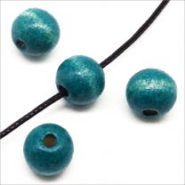 Perles en Bois 10mm Bleu canard