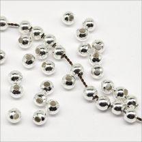 perles rondes en metal 3mm argente