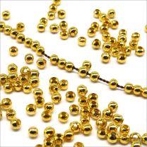 Perles Rondes en Métal 3mm Doré