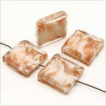 Lot de 4 Perles en Verre Lampwork Carrées Blanc Feuille d'Or 20mm