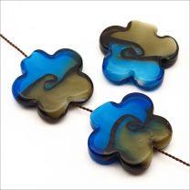 Perles Artisanales Fleurs en Verre Lampwork 25mm Bleu et Gris