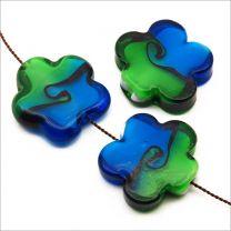Perles Artisanales Fleurs en Verre Lampwork 25mm Bleu et Vert