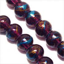Perles en Verre Décorées 6mm Améthyste