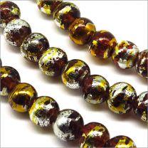 Perles en Verre Décorées 6mm Marron
