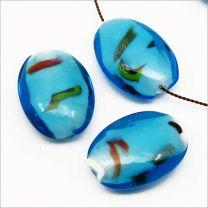 Perles Artisanales en Verre Lampwork Ovales Plates 25x18mm Améthyste