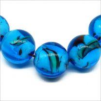 Perles Rondes artisanales en verre Lampwork Style Murano Bleu 12mm