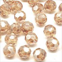 Perles à FACETTES 8mm en Cristal de Bohème Beige