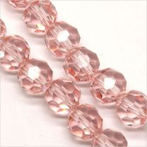 Perles à FACETTES 8mm en Cristal de Bohème Rose Clair