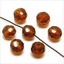 Perles à FACETTES 8mm en Cristal Topaze Marron / Smoked Topaze