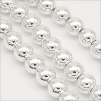 Perles Hématite 8mm Argenté
