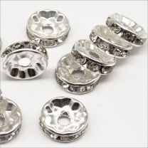 Perles Strass Rondelles Intercalaires 10x4mm Argenté