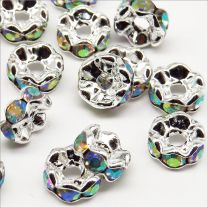 Perles Strass Rondelles Intercalaires 6x3mm Cristal AB