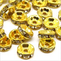 Perles Strass Rondelles Intercalaires 6x3mm Doré