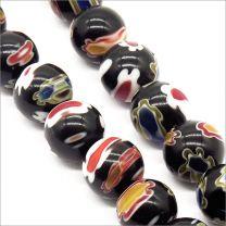 Perles Millefiori 8mm Noir
